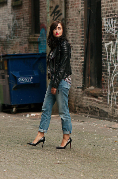 t-shirt blogger jacket jewels coco and vera jeans high heels leather jacket striped shirt