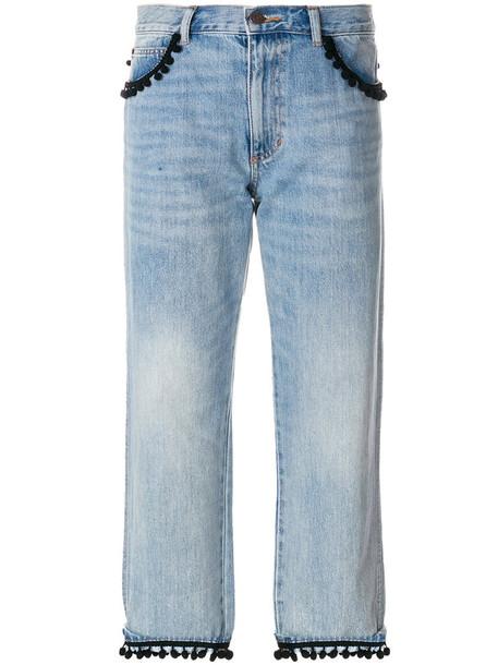 jeans cropped women cotton blue