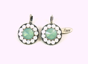jewels,siggy,swarovski,earrings,pacific opals,mint,sea foam green,daisy earrings,swarovski earrings,siggy jewelry,summer bling,trendy,gifts for her,siggy earrings,white opal and mint green,white and green