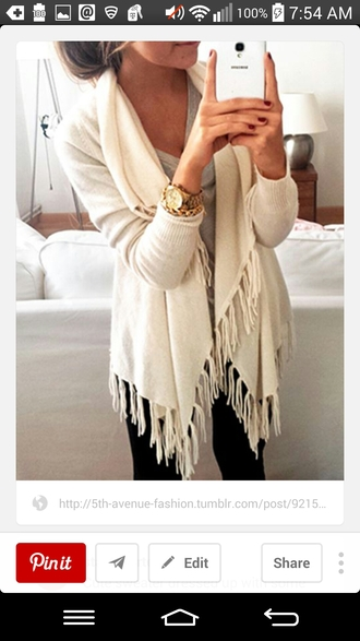 cardigan cozy sweater fringes white cardigan