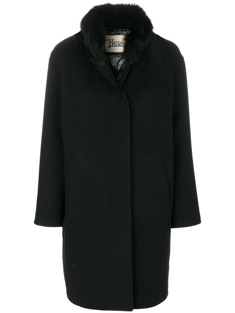 coat fur women black wool