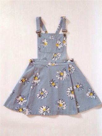 dress denim daisy flowers pinafore dress