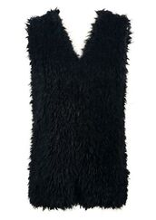 black vest,black waistcoat,black faux fur,faux fur vest,faux fur waistcoat,lined vest,lined waistcoat,www.ustrendy.com