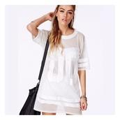 top,white,white dress,girly,mesh,model,jersey tee shirt