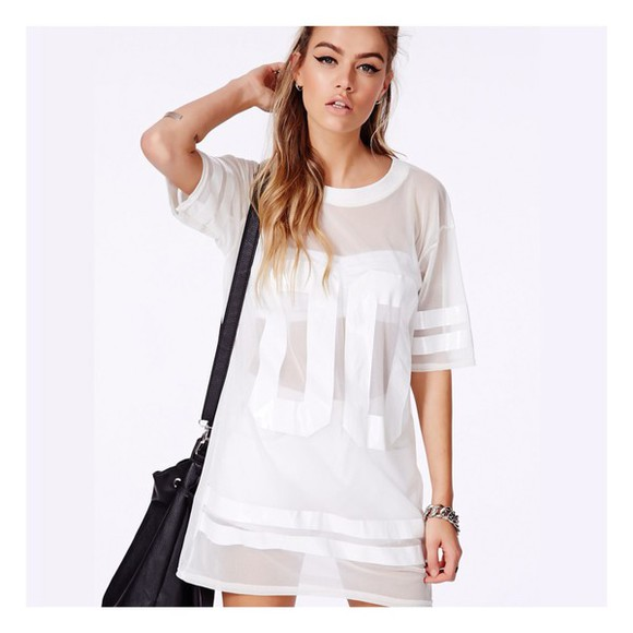model white dress top white girly mesh jersey tee shirt