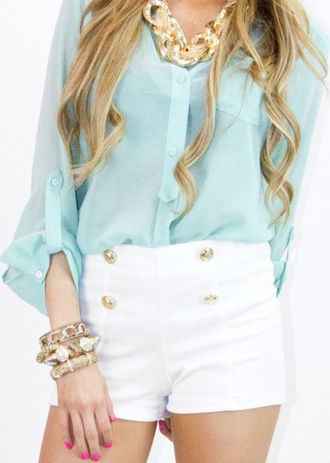 white white shorts high waisted shorts buttons blue shirt teal blouse summer outfits fall outfits clothes gold gold jewelry jewels necklace statement necklace fashion glamour button up