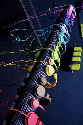colorful headphones bright music