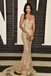 dress,gown,lace,lace dress,chanel iman,oscars 2015,red carpet dress,hair accessory,jewels,wedding dress,tan brown,chanel iman wore it .,celebrity,gold