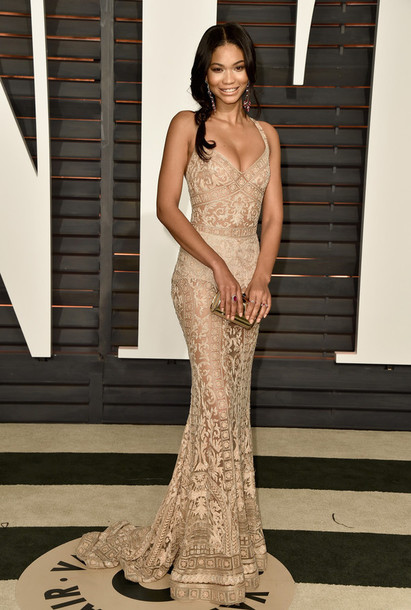 dress gown lace lace dress chanel iman oscars 2015 red carpet dress hair accessory jewels wedding dress tan brown celebrity gold