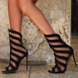 Black Peep Toe Stiletto Heels Strappy Sandals for Party