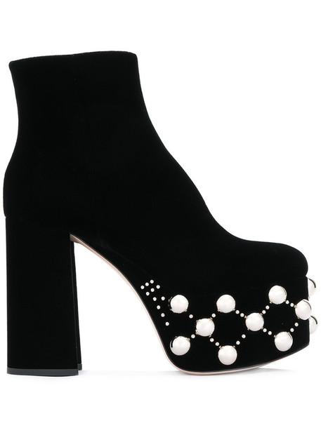 women embellished platform boots leather black velvet shoes