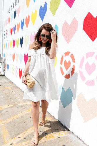 dallas wardrobe // fashion & lifestyle blog // dallas - fashion & lifestyle blog blogger dress shoes bag sunglasses jewels maternity maternity dress white dress off the shoulder dress clutch sandals