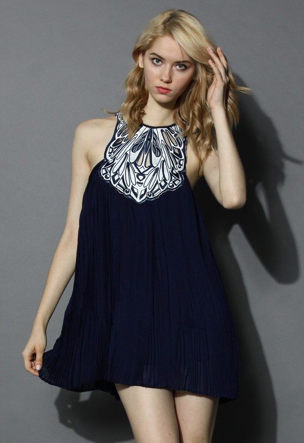 chicwish fantasy pleats cutout embroidered dress