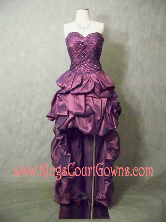 Size 0 purple poufy corset taffeta high low removable train prom homecoming dress gown
