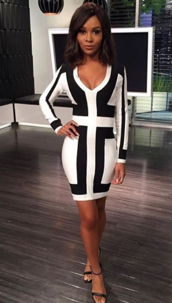 Long sleeve black and white dress