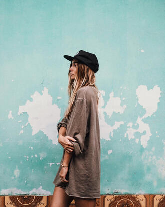 dress tumblr khaki sweater dress shirt dress t-shirt dress hat cap black cap ombre hair black baseball hat