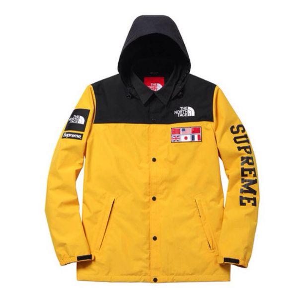 jacket black orange north face supreme jacket
