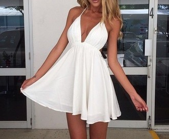 dress white summer short mini summer dress white dress blonde hair beautiful dresses cute dress sexy dress tanned girl tanned tanned skin tumblr outfit tumblr dress flowy flowy dress v neck backless dress