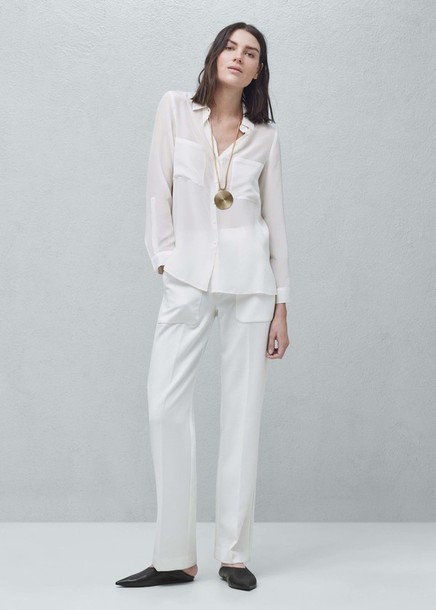 pants white white pants flare pants white shirt fall outfits office outfits