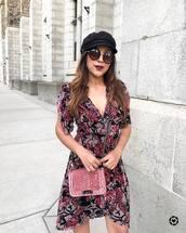 dress,hat,tumblr,floral,floral dress,mini dress,v neck,v neck dress,bag,pink bag,sunglasses,round sunglasses,fisherman cap