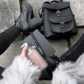 bag,black bag,shoes,backpack,grunge,cute bag,black bag fashion style swag,coat,cute,sweet,kawaii,outfit,furbae,tumblr,weheartit,white,fur coat,fur jacket,soft grunge,blackfashion,black,skinny,skinny jeans,fashion