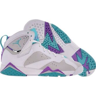 shoes air jordans 7 air jordans retro teal purple gray
