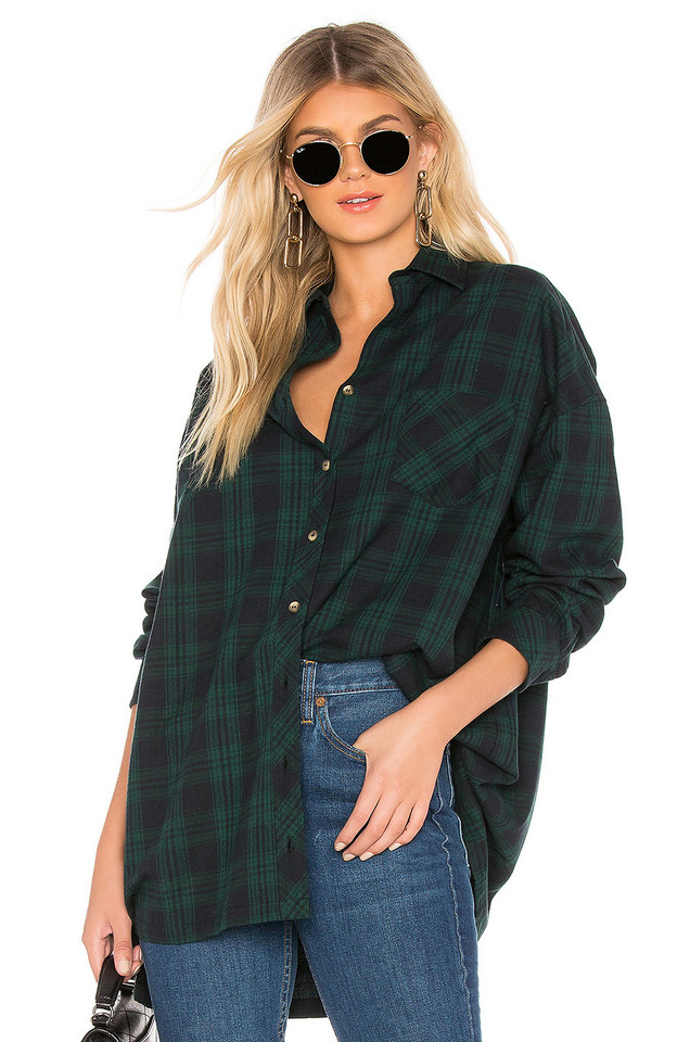 by the way. Audriana Oversized Flannel Top in green