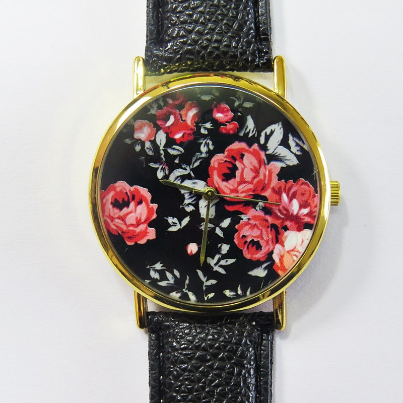 Vintage Red Roses on Black Watch, Floral Watch, Leather Watch, Women Watches, Boyfriend Watch, Ladies Watch,