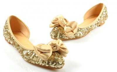 Bow Sequin Gold Sparkling Wedding Evening Prom Shoes Flat Custom Made  Plus Size - SexyPromShoes.com