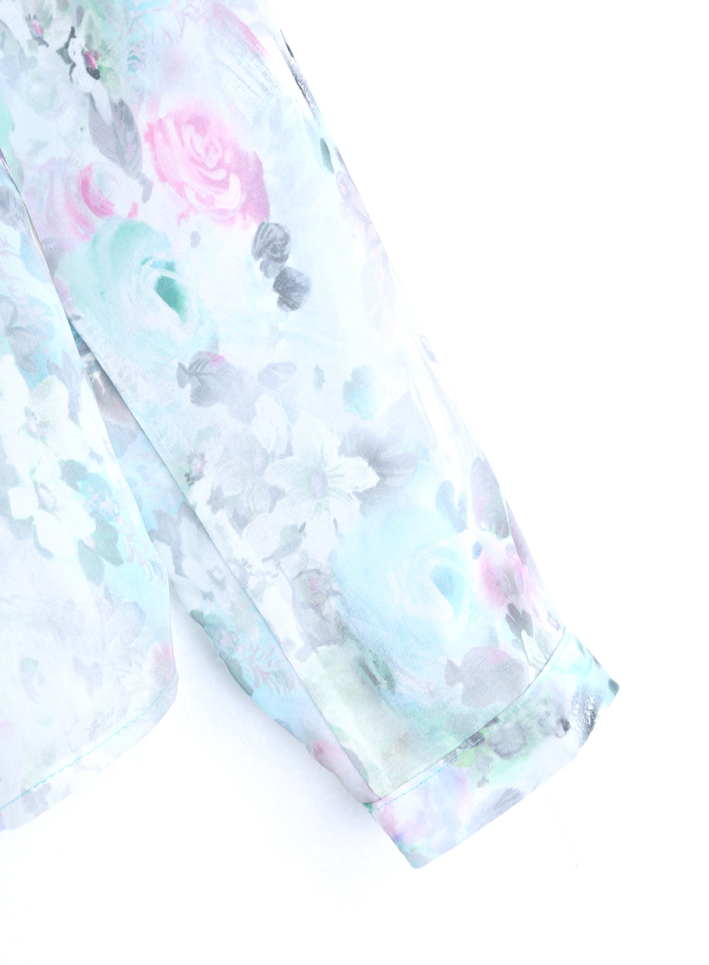 Green Gradients Long Sleeve Floral Chiffon Blouse - Sheinside.com