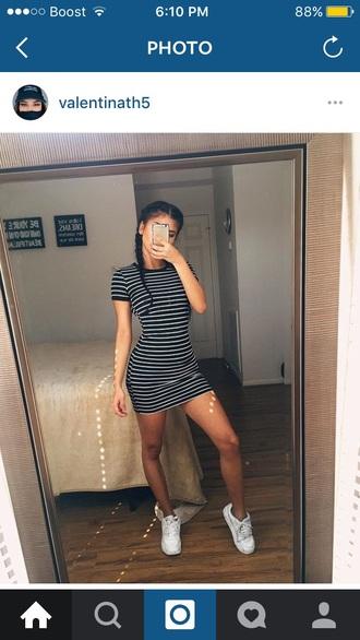 dress short bodycon stripes black white grey shift mini t-shirt shirt dress