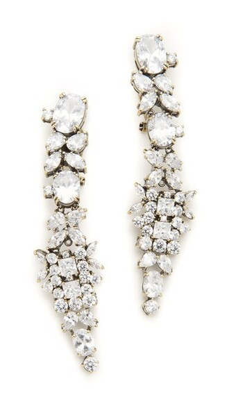 clear embellished earrings gold jewels