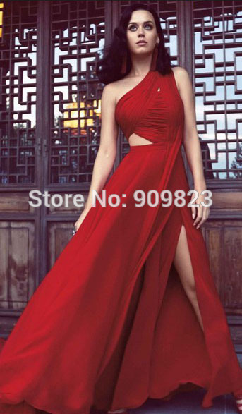 Aliexpress.com: compre 2014 katy perry robe vestido vermelho de um ombro plissado cortado chão slit designer a linha de vestidos de celebridades de confiança vestido azul do cinto fornecedores em my classic garden