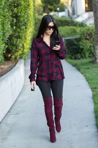 shirt plaid plaid shirt kourtney kardashian kardashians boots leggings over the knee boots burgundy suede boots spring outfits shoes