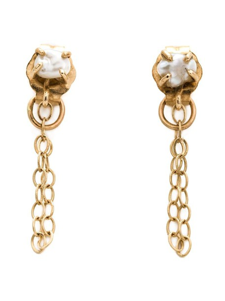 women pearl earrings gold grey metallic jewels