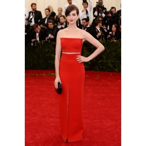 Anne hathaway red strapless prom dress 2014 met ball red carpet