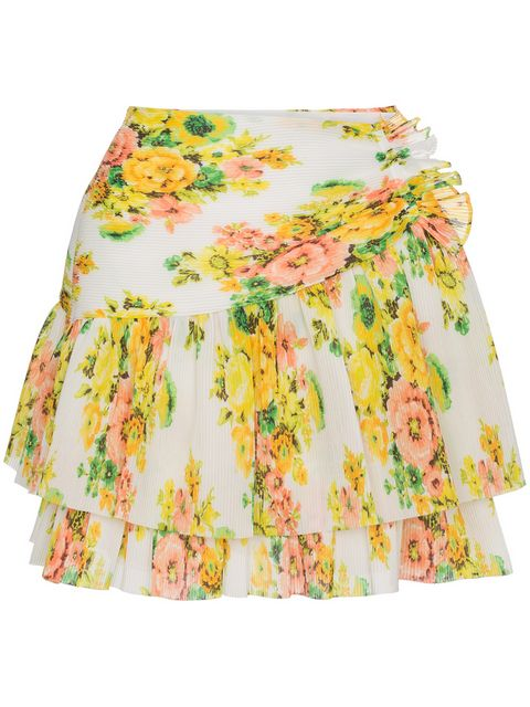 Zimmermann Floral Pleated Mini Skirt - Farfetch