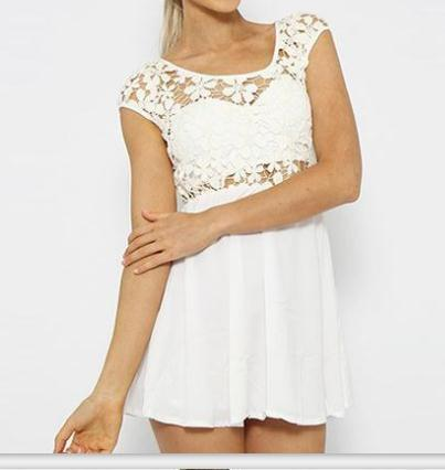 Summer new lace stitching contracted type loose waist dress zipper design