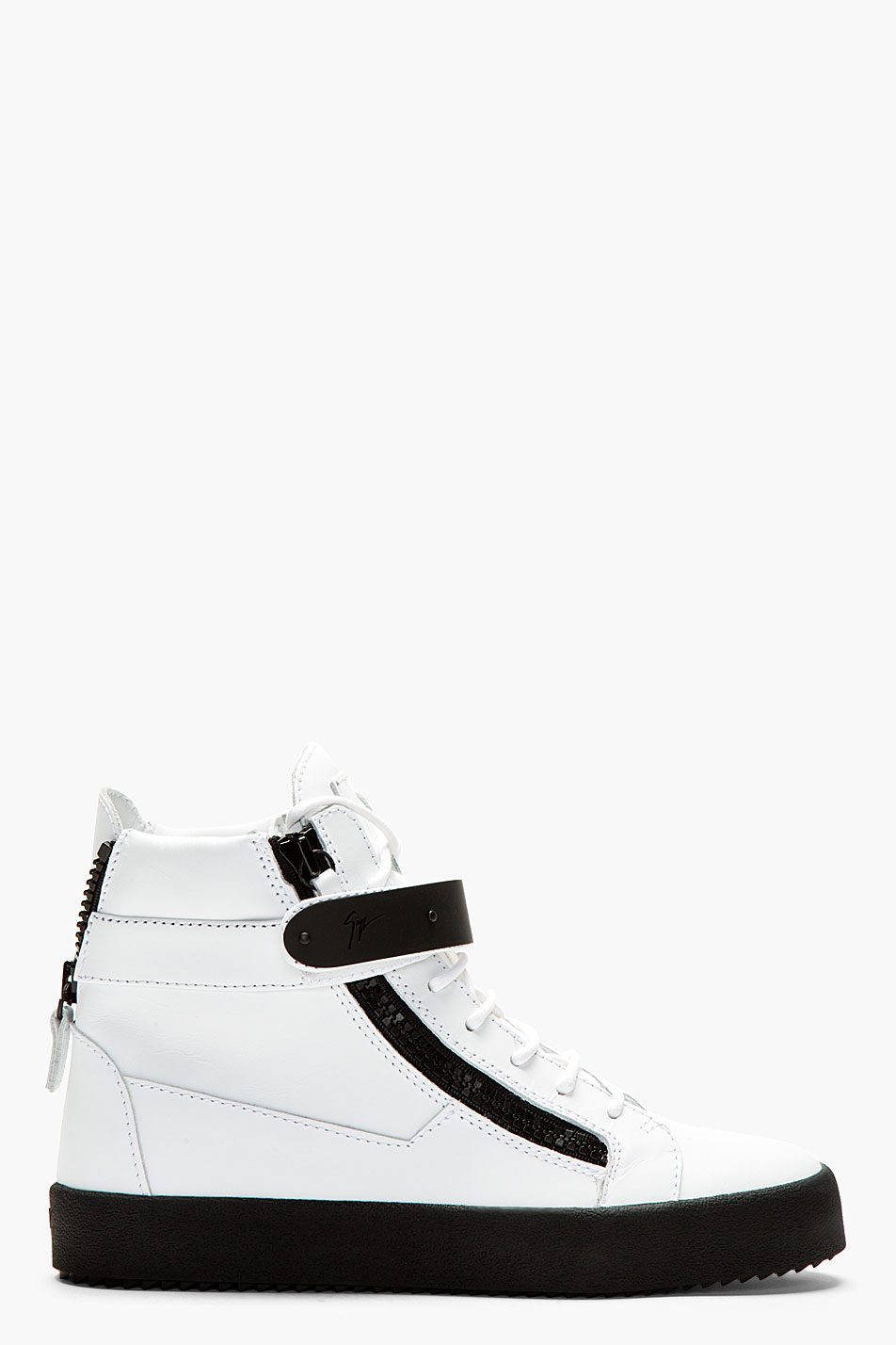 Giuseppe zanotti white matte leather birel wedge sneakers