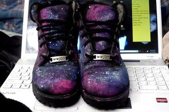 shoes galaxy shoes cambat galaxy print timberlands awesomness