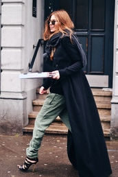 maja wyh,blogger,long coat,red hair,khaki pants,coat,pants,shoes,scarf,black long coat