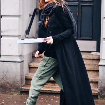 scarf shoes coat pants blogger maja wyh long coat red hair khaki pants scarf red