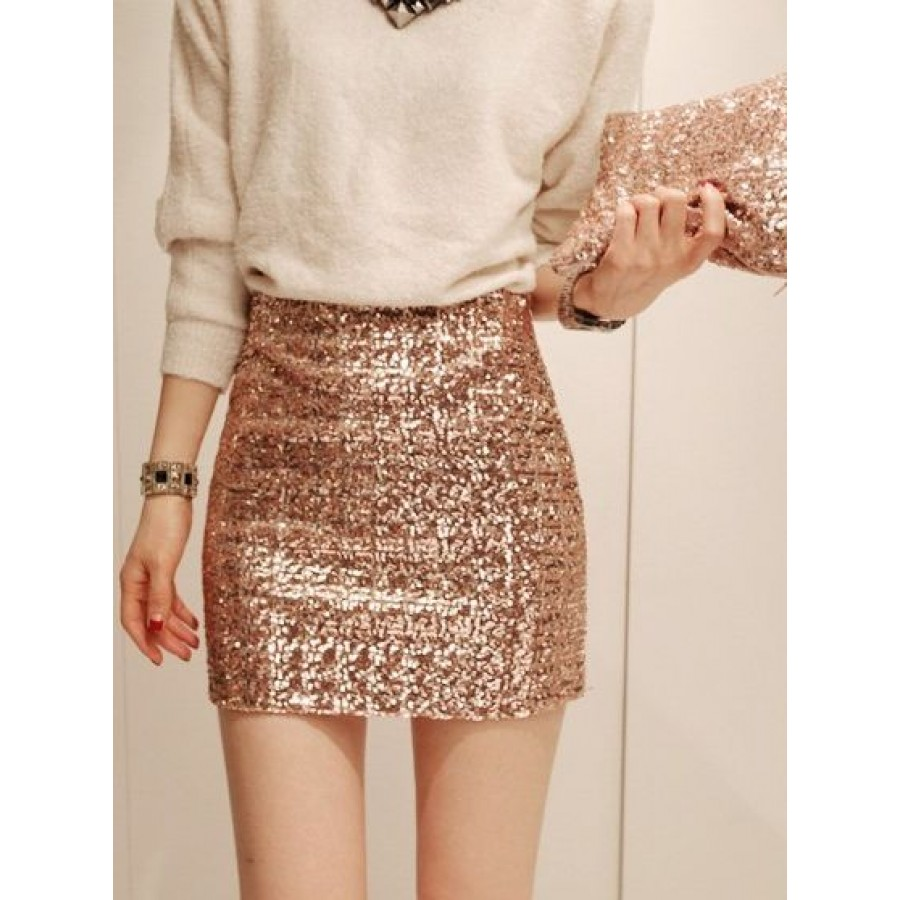 Gold Sequin Wrap Short Skirt
