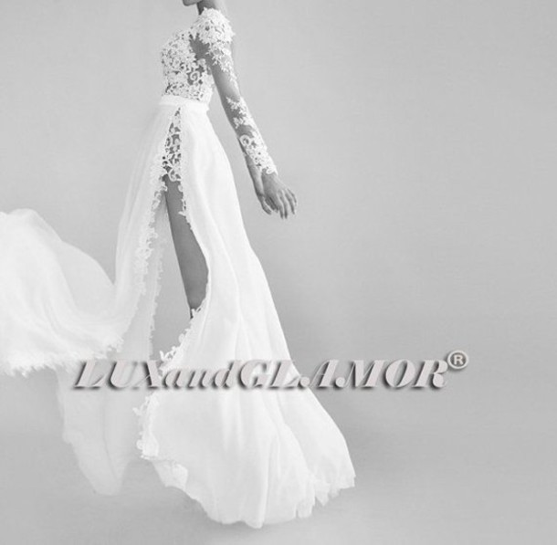 Dress Long Sleeve Lace Wedding Dress Side Slit Wedding Dress
