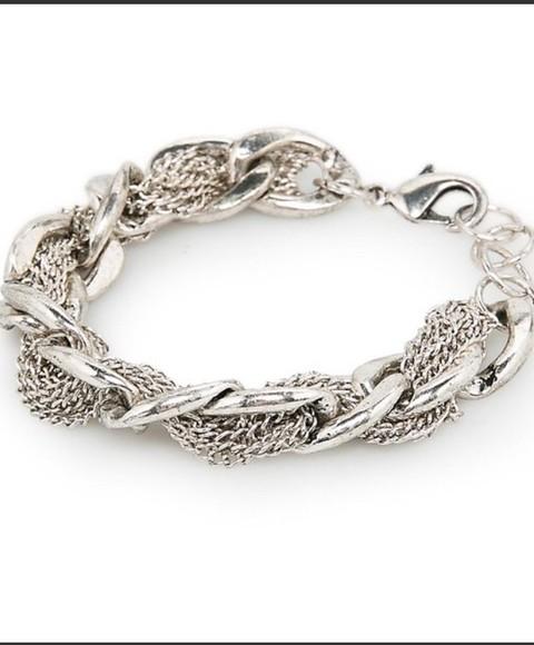 jewels bracelets chain intertwined nice punk
