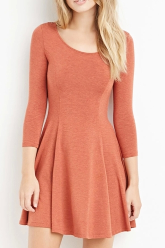 dress orange cute girly fall outfits long sleeves skater dress