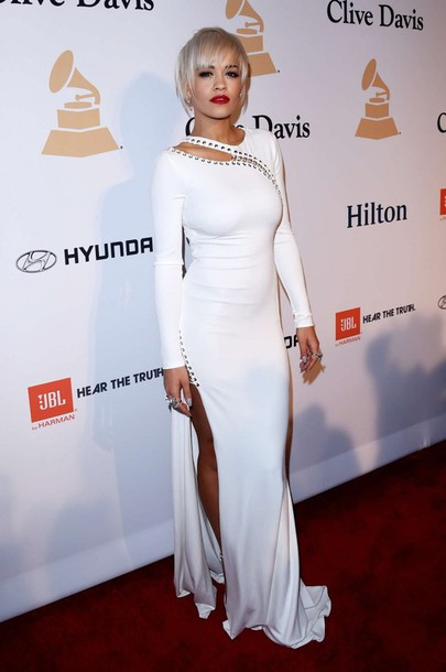 dress white dress gown rita ora grammys 2015