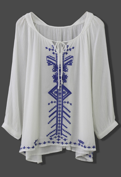 Top Chicwish Boho Blue Stitch Embroidery Top Boho Top White Top