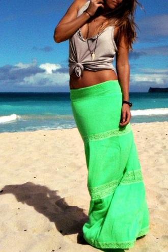 skirt bright green skirt maxi skirt tank top