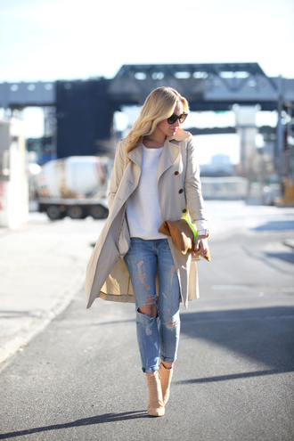 brooklyn blonde coat sweater jeans bag jewels shoes